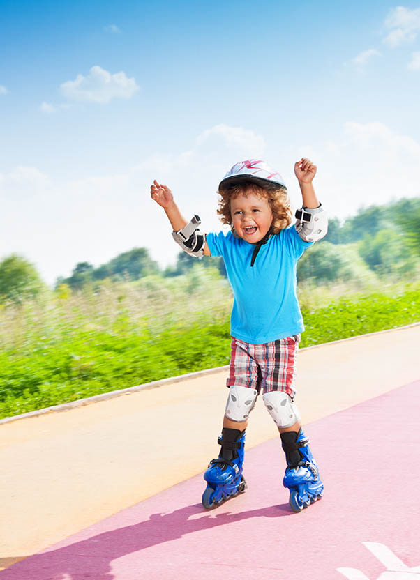 Little Boy Rollerblading