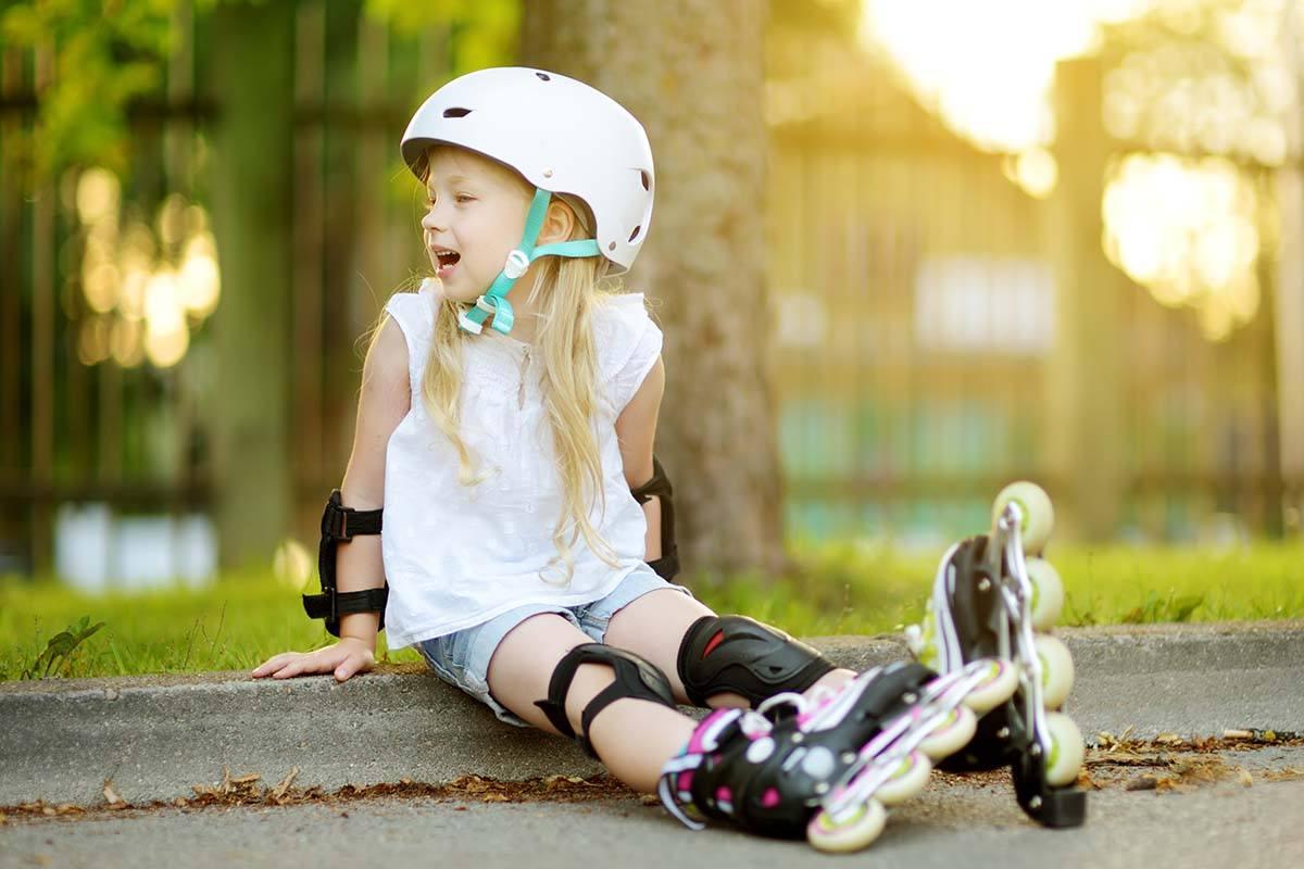 Little Girl in Roller Skate Helmet